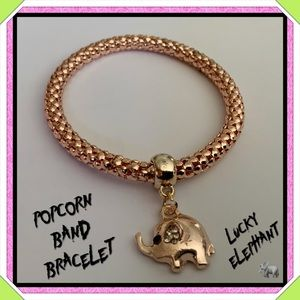 🆕✅ GOLD POPCORN BAND ELEPHANT BRACELET